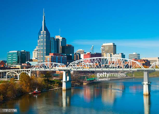 Nashville skyline, bridge, and river