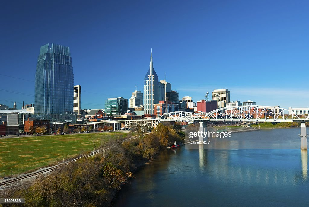 Nashville skyline, river, and bridge, wide angle : Stock Photo