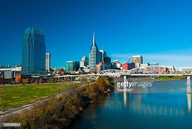 Nashville skyline, river, and bridge, wide angle