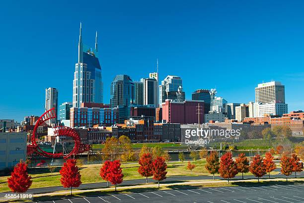 nashville skyline, sculpture, and fall trees - nashville skyline stock pictures, royalty-free photos & images