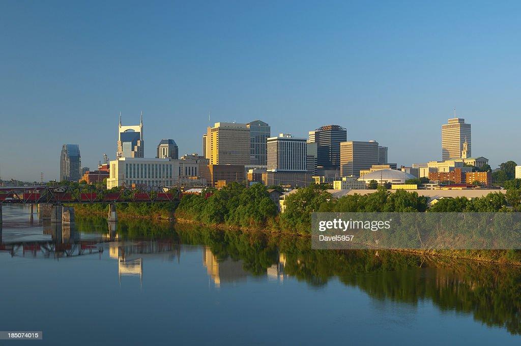 Nashville skyline, train, and river : Stock Photo
