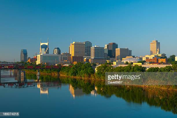 Nashville skyline, train, and river