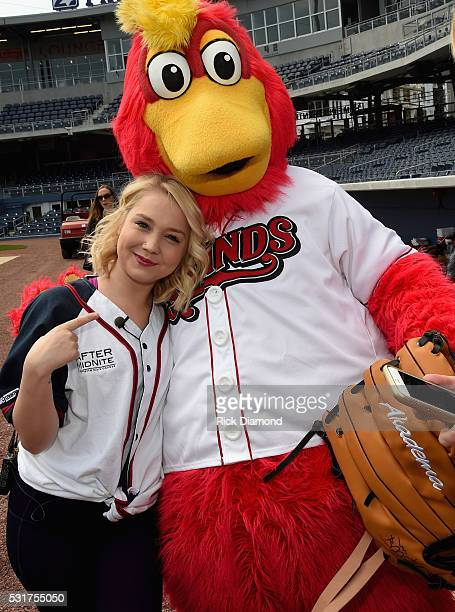 Nashville Sounds Mascot Booster welcomes Singer/Songwriter RaeLynn to Warm-Ups To Prep For The 2016 City Of Hope Softball Game at First Tennessee...