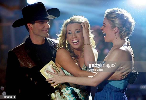 Nashville Star Erika Jo, center, reacts to being annouced the new Nashville Star as runner-up Jason Meadows, left, and host LeAnn Rimes congratulate...