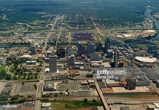 nashville, tennessee, aerial view - nashville stock-fotos und bilder