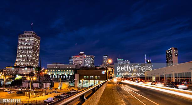 Nashville Tennessee city skyline at twilight from the west side with traffic and skyscrapers