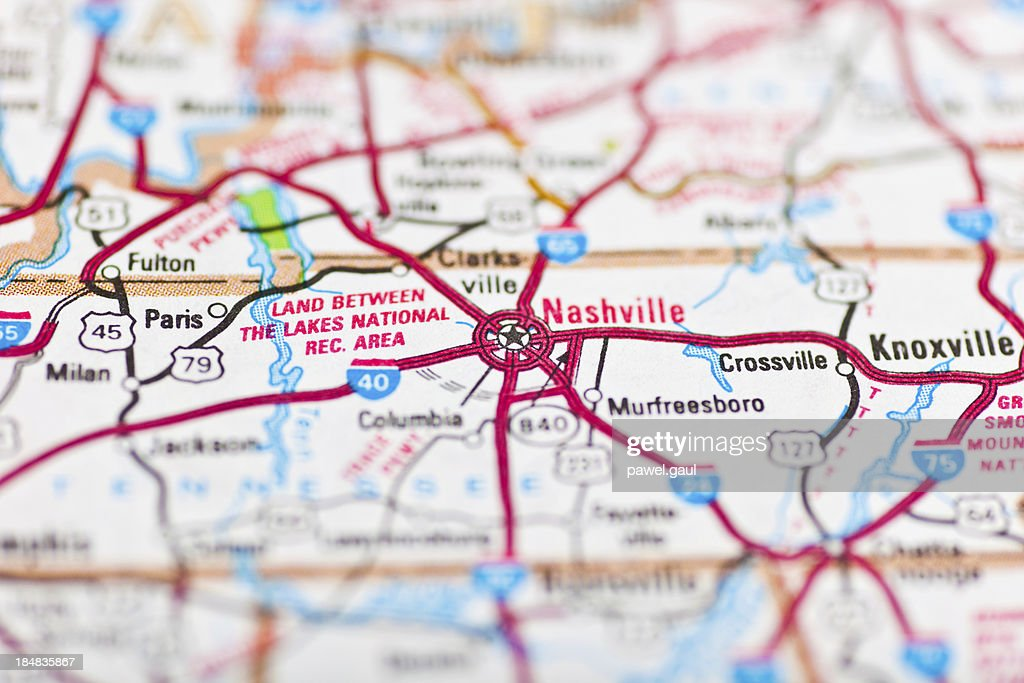 Nashville Tn Map Stock Photo | Getty Images
