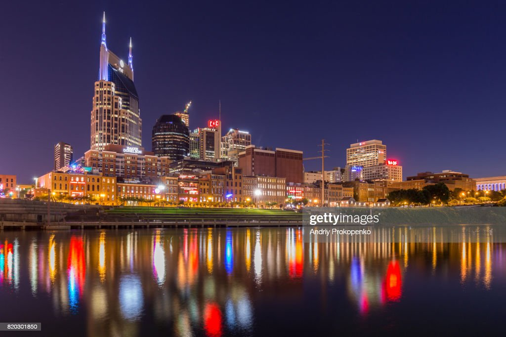 Nashville Waterfront at Night, Tennessee, USA : Stock Photo