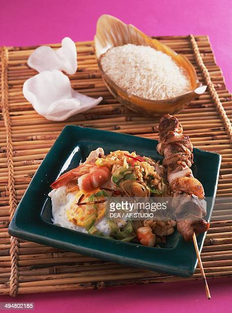 Nasi goreng with chicken and shrimp Indonesia