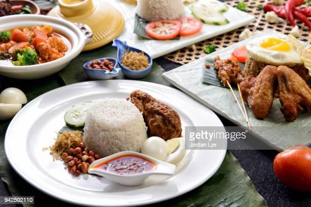 nasi lemak with chicken rendang - bonne fete de ramadan photos et images de collection