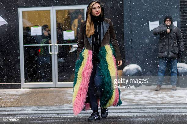Nasiba Adilova seen outside Phillip Lim during New York Fashion Week Women's Fall/Winter 2016 on February 15 2016 in New York City