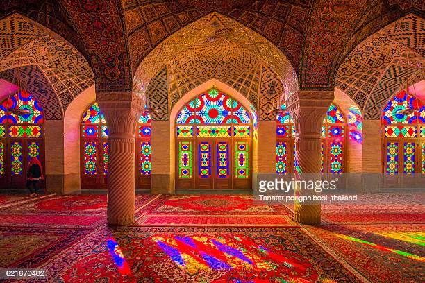 nasir al-mulk mosque, shiraz, iran - shiraz stock photos and pictures