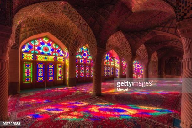 nasir al-mulk mosque (pink mosque), shiraz, iran - モスク ストックフォトと画像