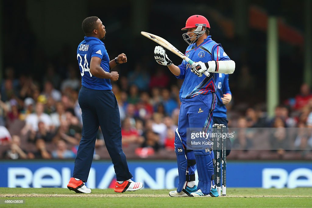 Nasir Jamal of Afghanistan calls for the DRS after being given out caught behind off the bowling of Chris Jordan of England during the 2015 Cricket World Cup match between England and Afghanistan at Sydney Cricket Ground on March 13, 2015 in Sydney, Australia.