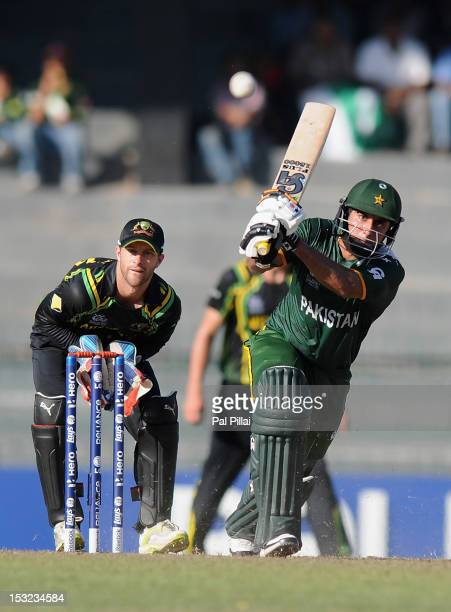 Nasir Jamshed of Pakistan bats during the ICC World Twenty20 2012 Super Eights Group 2 match between Australia and Pakistan at R Premadasa Stadium on...