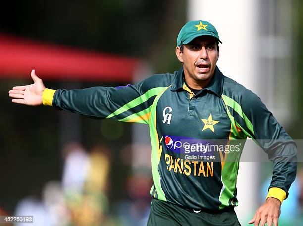 Nasir Jamshed of Pakistan gestures during the 2nd One Day International match between South Africa and Pakistan at AXXESS St Georges on November 27...