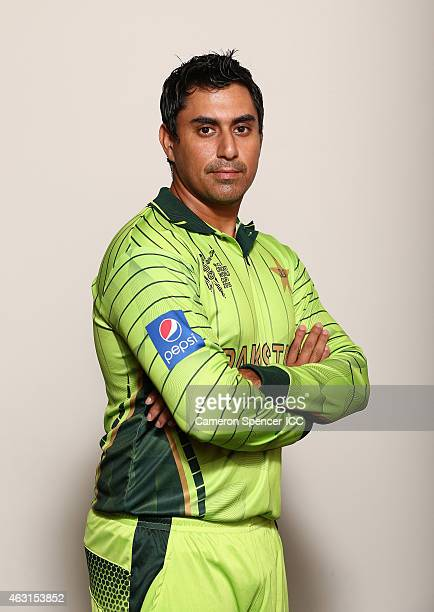 Nasir Jamshed of Pakistan poses during the Pakistan 2015 ICC Cricket World Cup Headshots Session at the Sydney Cricket Ground on February 11 2015 in...