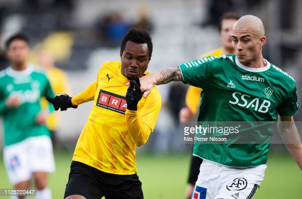 Nasiru Mohammed of BK Hacken and Carlos Garcia Ambrosiani of IK Brage competes for the ball during the Svenska Cupen group stage match between BK...