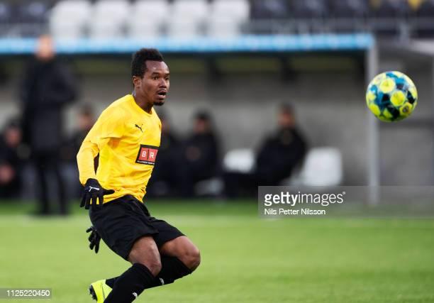 Nasiru Mohammed of BK Hacken during the Svenska Cupen group stage match between BK Hacken and IK Brage at Bravida Arena on February 16 2019 in...