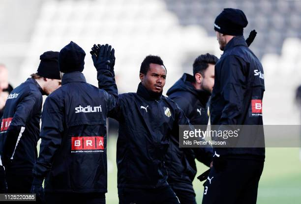 Nasiru Mohammed of BK Hacken during warm up ahead of the Svenska Cupen group stage match between BK Hacken and IK Brage at Bravida Arena on February...