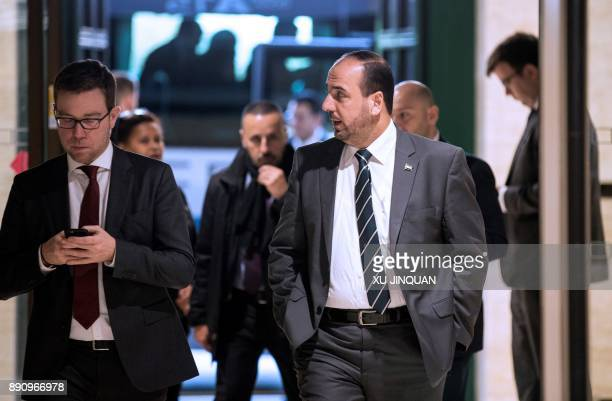 Nasr alHariri head of the Syrian Negotiation Commission arrives for a meeting with UN Special Envoy for Syria during the Intra Syria talks at the...