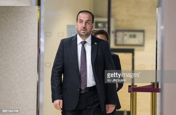 Nasr alHariri Head of the Syrian Negotiation Commission arrives on December 14 2017 for a a round of negotiations with the UN Special Envoy of the...