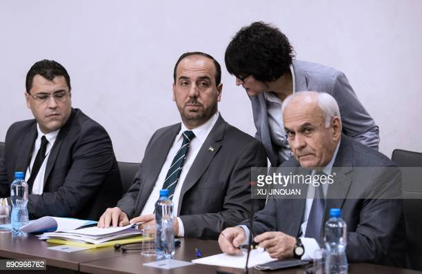 Nasr alHariri head of the Syrian Negotiation Commission attends a meeting with UN Special Envoy for Syria during the Intra Syria talks at the...