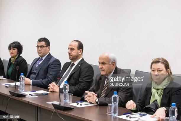Nasr alHariri Head of the Syrian Negotiation Commission attends on December 14 2017 a round of negotiations with the UN Special Envoy of the...