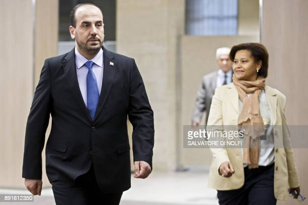 Nasr alHariri Head of the Syrian Negotiation Commission SNC arrives for a round of negotiations with the UN Special Envoy of the SecretaryGeneral for...