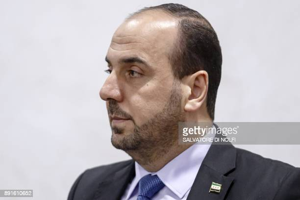 Nasr alHariri Head of the Syrian Negotiation Commission SNC attends a round of negotiations with the UN Special Envoy of the SecretaryGeneral for...