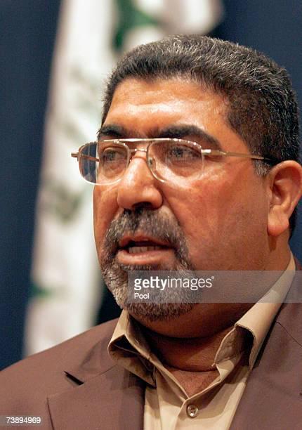 Nassar AlRubai a spokesman for the alSadr parliamentary bloc addresses the media during press conference April 16 2007 in Baghdad Iraq AlRubai today...