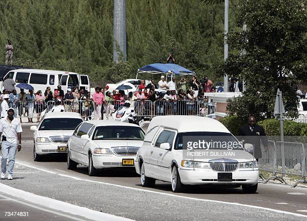A motorcade carries the coffin of Anna Nicole Smith as it leaves the Bahamas church 02 March 2007 as the former Playboy model headed to her final...