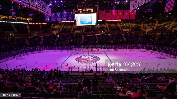 Nassau Coliseum and New York Islander fans wait prior to warm ups before a game between the New York Islanders and Chicago Blackhawks on January 3,...