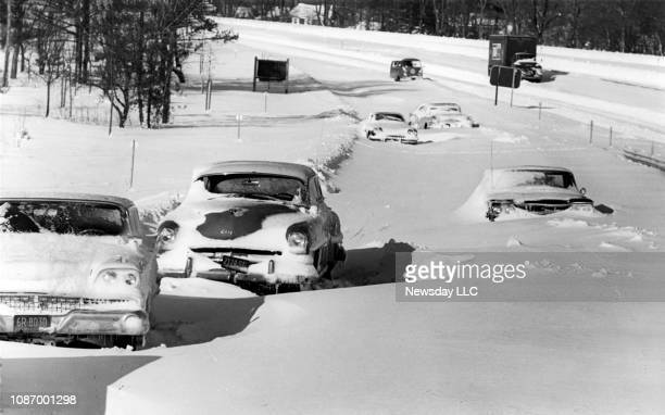 The entrance ramp to the Northern State Parkway from the Long Island Expressway is cut off due to cars stalled in snow on February 5 1961