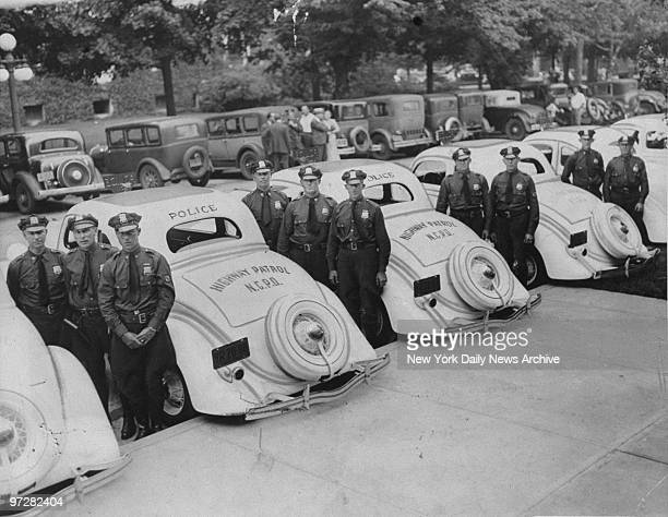 Nassau County Police Department highway patrol cars line up for inspection