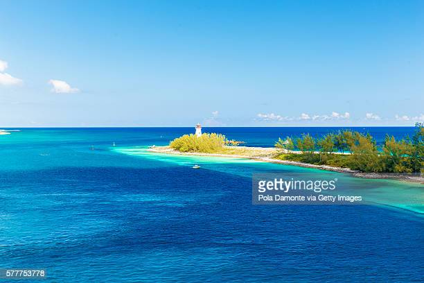 nassau lighthouse at the bahamas in the caribbean. - nassau stock photos and pictures