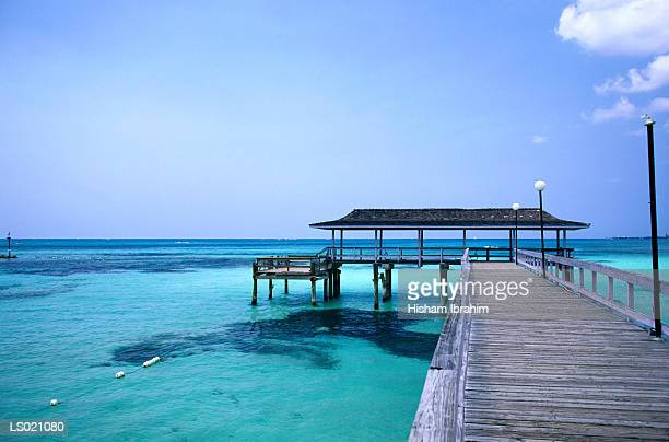 nassau pier - cable beach bahamas stock photos and pictures