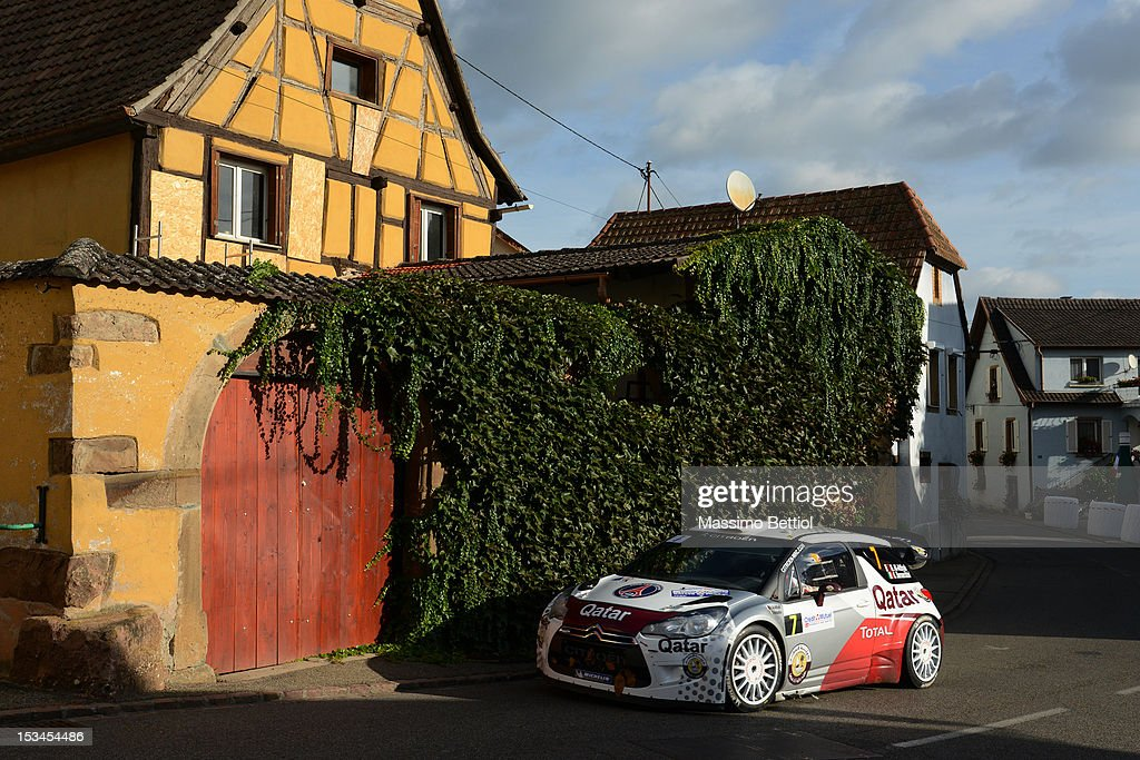 Nasser Al Attiyah of Qatar and Giovanni Bernacchini of Italy compete in their Qatar WRT Citroen DS3 WRC during Day One of the WRC Rally of France on October 05, 2012 in Strasbourg, France.