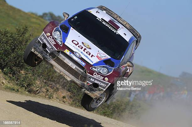 Nasser Al Attiyah of Qatar and Giovanni Bernacchini of Italy compete in their Qatar WRT Ford Fiesta RS WRC during Day Three of the WRC Portugal on...