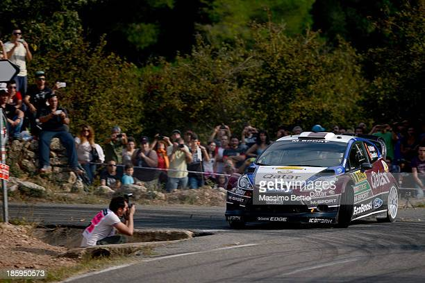 Nasser Al Attiyah of Qatar and Giovanni Bernacchini of Italy compete in their Qatar WRT Ford Fiesta RS WRC during Day Two of the WRC Spain on October...