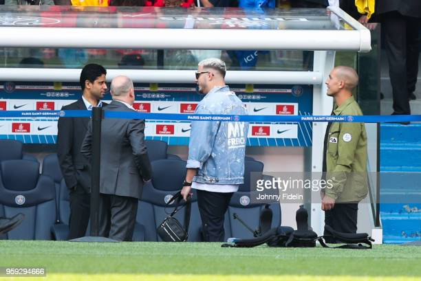 Nasser Al Khelaifi president of PSG DJ Snake and Antero Henrique Sporting Director of PSG during the training session of Paris Saint Germain at Parc...