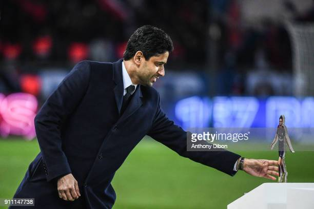 Nasser Al Khelaifi president of PSG during the Ligue 1 match between Paris Saint Germain and Montpellier Herault SC at Parc des Princes on January 27...