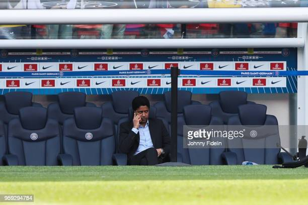 Nasser Al Khelaifi president of PSG during the training session of Paris Saint Germain at Parc des Princes on May 16 2018 in Paris France