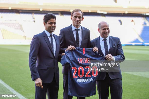 Nasser Al Khelaifi president of PSG Thomas Tuchel new head coach of PSG and Antero Henrique sports director of PSG during the Press conference of the...