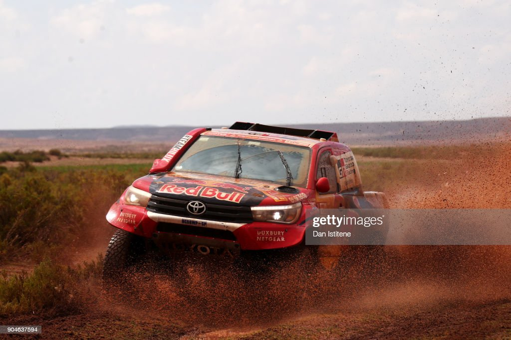 Nasser Al-Attiyah of Qatar and Toyota Gazoo Racing drives with co-driver Matthieu Baumel of France in the Hilux Toyota car in the Classe : T1.1 : 4x4 Essence during stage seven of the 2018 Dakar Rally between La Paz and Uyuni on January 13, 2018 in UNSPECIFIED, Bolivia.