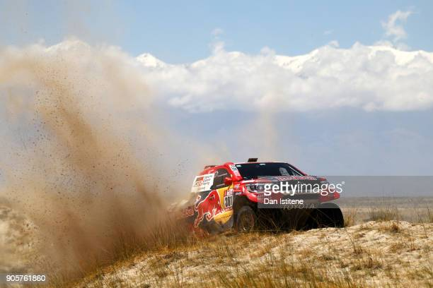 Nasser Al-Attiyah of Qatar and Toyota Gazoo Racing drives with co-driver Matthieu Baumel of France in the Hilux Toyota car in the Classe : T1.1 : 4x4...