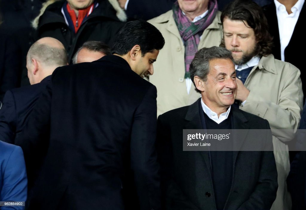 Nasser Al-Khelaifi and Nicolas Sarkozy attend the Ligue 1 match between Paris Saint Germain and EA Guingamp at Parc des Princes on April 29, 2018 in Paris.
