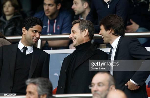 Nasser AlKhelaifi French Politician Nicolas Sarkozy and Leonardo de Araujo seen during the French League 1 between Paris SaintGermain FC and Stade...