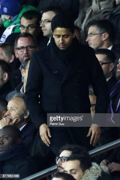 Nasser AlKhelaifi is seen during the UEFA Champions League group B match between Paris SaintGermain and Celtic FC at Parc des Princes on November 22...