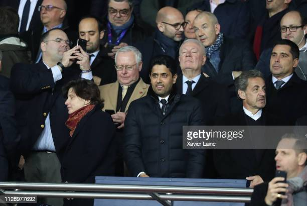 Nasser AlKhelaifi of PSG and French politician Nicolas Sarkozy attend the UEFA Champions League Round of 16 Second Leg match between Paris...
